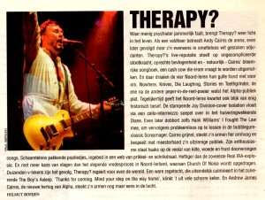Concertrecensie Therapy (festivalkrant Lowlands)